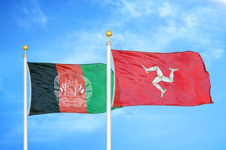 Afghanistan and Isle of Mann  two flags on flagpoles and blue cloudy sky background