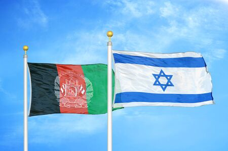 Afghanistan and Israel  two flags on flagpoles and blue cloudy sky background 版權商用圖片