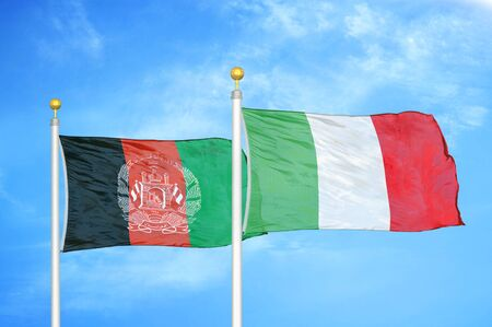 Afghanistan and Italy  two flags on flagpoles and blue cloudy sky background 版權商用圖片