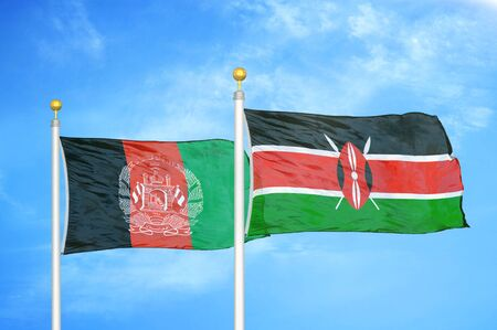Afghanistan and Kenya  two flags on flagpoles and blue cloudy sky background