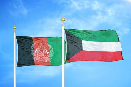 Afghanistan and Kuwait  two flags on flagpoles and blue cloudy sky background 版權商用圖片