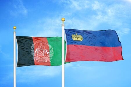 Afghanistan and Liechtenstein  two flags on flagpoles and blue cloudy sky background