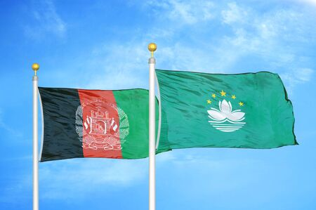 Afghanistan and Macau  two flags on flagpoles and blue cloudy sky background 版權商用圖片