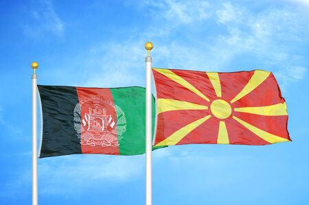 Afghanistan and North Macedonia  two flags on flagpoles and blue cloudy sky background