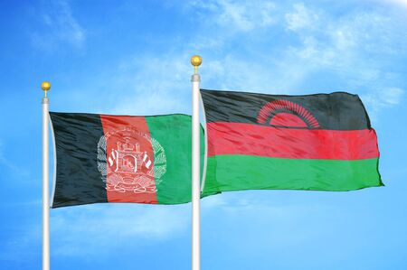 Afghanistan and Malawi  two flags on flagpoles and blue cloudy sky background