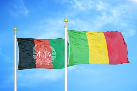 Afghanistan and Mali  two flags on flagpoles and blue cloudy sky background 版權商用圖片