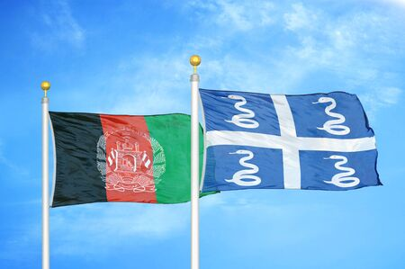Afghanistan and Martinique snake  two flags on flagpoles and blue cloudy sky background