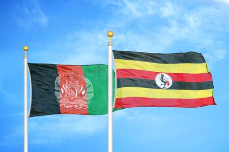 Afghanistan and Uganda  two flags on flagpoles and blue cloudy sky background