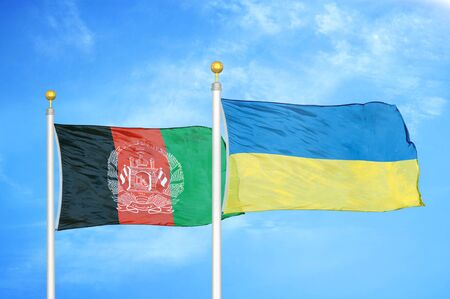 Afghanistan and Ukraine  two flags on flagpoles and blue cloudy sky background