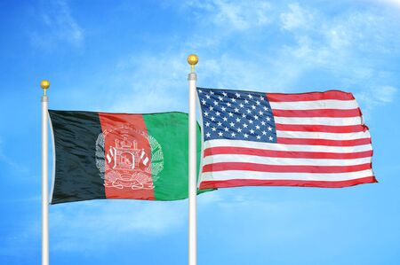 Afghanistan and United States  two flags on flagpoles and blue cloudy sky background