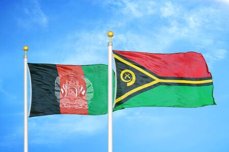 Afghanistan and Vanuatu  two flags on flagpoles and blue cloudy sky background
