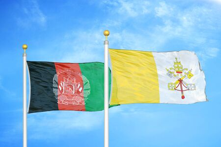Afghanistan and Vatican  two flags on flagpoles and blue cloudy sky background