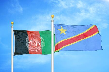 Afghanistan and Congo Democratic Republic   two flags on flagpoles and blue cloudy sky background 版權商用圖片