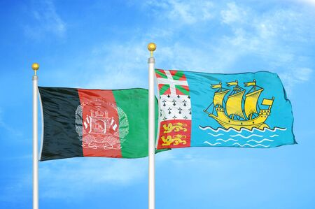 Afghanistan and Saint Pierre and Miquelon  two flags on flagpoles and blue cloudy sky background 版權商用圖片