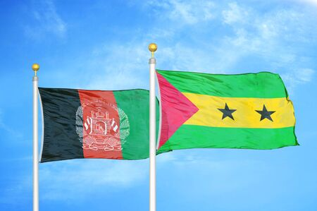 Afghanistan and Sao Tome and Principe  two flags on flagpoles and blue cloudy sky background 版權商用圖片