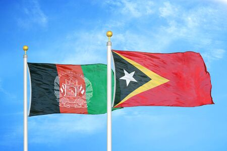 Afghanistan and Timor-Leste East Timor  two flags on flagpoles and blue cloudy sky background 版權商用圖片