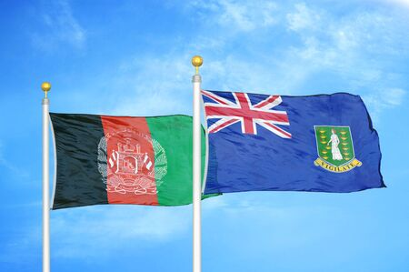 Afghanistan and Virgin Islands British  two flags on flagpoles and blue cloudy sky background