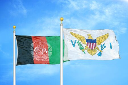 Afghanistan and Virgin Islands United States  two flags on flagpoles and blue cloudy sky background 版權商用圖片