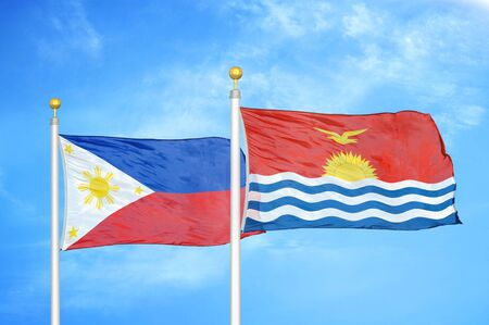 Philippines and Kiribati two flags on flagpoles and blue cloudy sky background