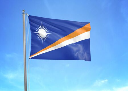 Marshall Islands flag waving in the cloudy sky 3D illustration