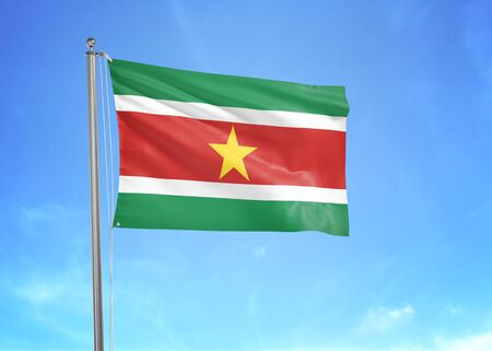Suriname flag waving in the cloudy sky 3D illustration