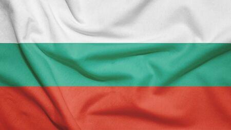 Bulgaria flag on the fabric texture