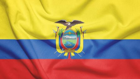 Ecuador flag on the fabric texture