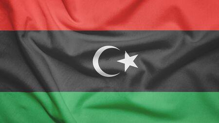 Libya flag on the fabric texture Archivio Fotografico