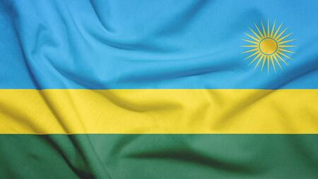 Rwanda flag on the fabric texture