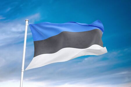 Estonia flag waving in the cloudy sky 3D illustration