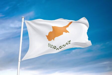 Cyprus flag waving in the cloudy sky 3D illustration