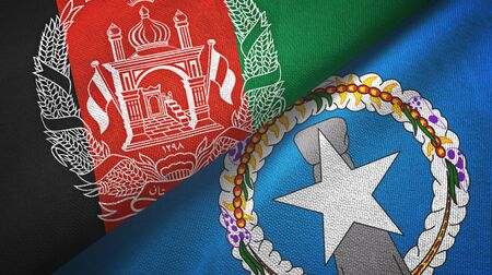 Afghanistan and Northern Mariana Islands two folded flags together