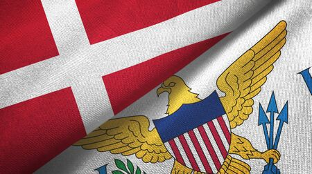 Denmark and Virgin Islands United States two folded flags together