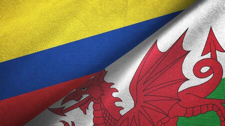 Colombia and Wales two folded flags together