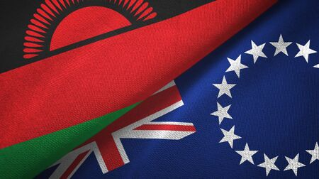 Malawi and Cook Islands two folded flags together Zdjęcie Seryjne
