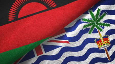 Malawi and British Indian Territory two folded flags together