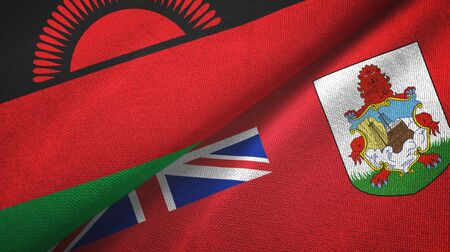 Malawi and Bermuda two folded flags together