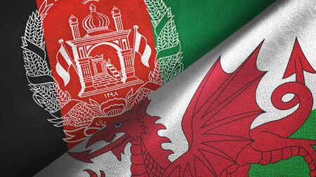 Afghanistan and Wales two folded flags together