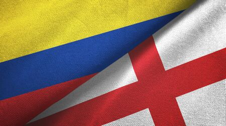 Colombia and England two folded flags together Zdjęcie Seryjne