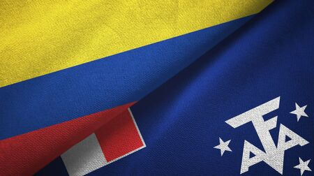 Colombia and French Southern and Antarctic Lands two folded flags together