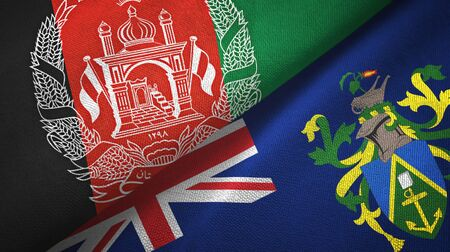 Afghanistan and Pitcairn Islands two folded flags together