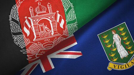 Afghanistan and Virgin Islands British two folded flags together Zdjęcie Seryjne