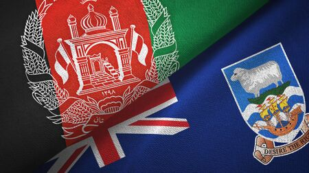 Afghanistan and Falkland Islands two folded flags together
