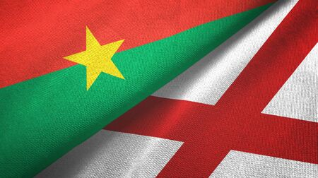 Burkina Faso and Northern Ireland two folded flags together