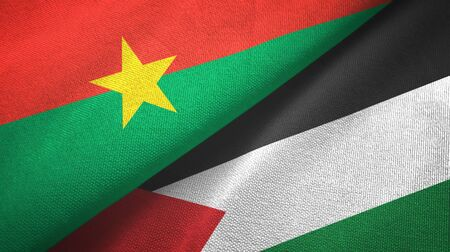 Burkina Faso and Palestine two folded flags together