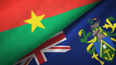 Burkina Faso and Pitcairn Islands two folded flags together