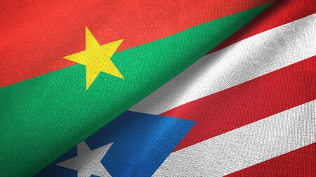 Burkina Faso and Puerto Rico two folded flags together