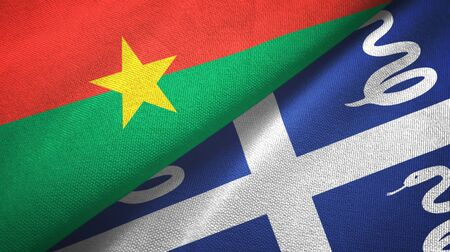 Burkina Faso and Martinique snake two folded flags together