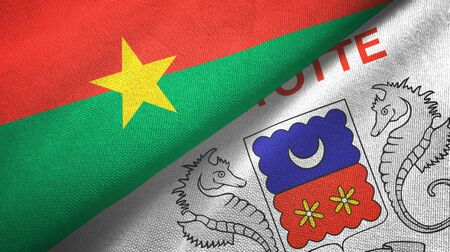 Burkina Faso and Mayotte two folded flags together