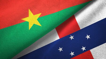 Burkina Faso and Netherlands Antilles two folded flags together